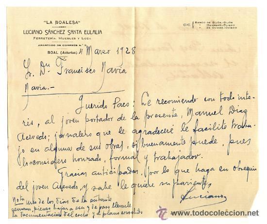 ANTIGUA CARTA DE RECOMENDACIÓN DEL CARTERO A LA BOALESA BOAL ASTURIAS 1928. CORREOS (Coleccionismo - Documentos - Otros documentos)