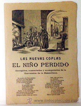PLIEGO DE CORDEL. LAS NUEVAS COPLAS DEL NIÑO PERDIDO / CONVERSIÓN DE LA SAMARITANA. 2 XILOGRAFÍAS (Coleccionismo - Documentos - Otros documentos)