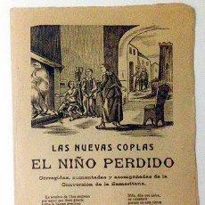 Documentos antiguos: PLIEGO DE CORDEL. LAS NUEVAS COPLAS DEL NIÑO PERDIDO / CONVERSIÓN DE LA SAMARITANA. 2 XILOGRAFÍAS. Lote 54258361