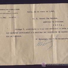 Documentos antiguos: PERMISO PROV. TRAS DEPURACION A LA SOC. DEL FERROCARRIL DE ALCANTARILLA A LORCA. 1940. GUERRA CIVIL.. Lote 54307092