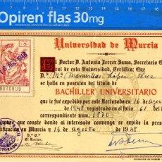 Documentos antiguos: MURCIA TITULO BACHILLER UNIVERSITARIO MURCIA AGOSTO 1948 . Lote 54354874