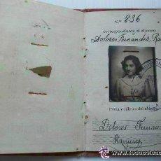 Documentos antiguos: CARNET DE IDENTIDAD DE UNA CHICA DE LA UNIVERSIDAD DE SEVILLA. ESCUELA DE COMERCIO. 1946. Lote 54415968