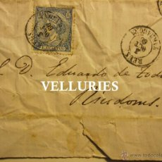 Documentos antiguos: CARTA DIRIGIDA A EDUARD DE TODA (RUIDOMS) DESDE REUS. 1866. 20,5 X 26,5 CM. SELLO ISABEL II DE 4 1/4. Lote 54422894