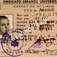 Documentos antiguos: MADRID, 1957, CARNET DEL SEU DE UN ESTUDIANTE DE BELLAS ARTES. Lote 54475075