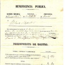 Documentos antiguos: BUENACHE DE ALARCÓN (CUENCA) - PRESUPUESTO DE BENEFICENCIA PÚBLICA DE EL SANTO HOSPITAL - SIGLO XIX. Lote 54499975