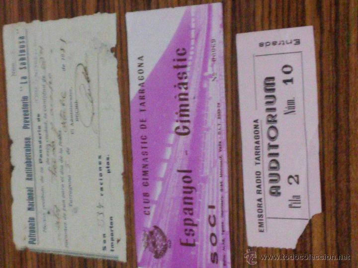 TARRAGONA - 3 DOCUMENTOS - 1951 - LA SABINOSA - ENTRADA NASTIC Y ENTRADA EMISORA RADIO TARRAGONA (Coleccionismo - Documentos - Otros documentos)