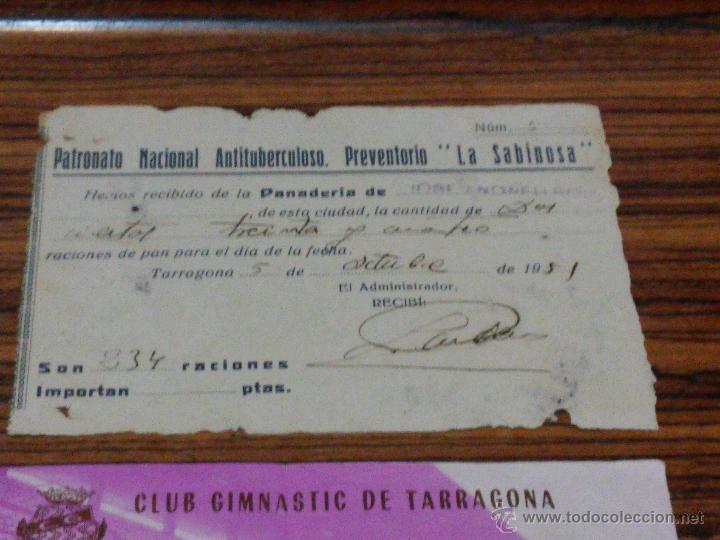 Documentos antiguos: TARRAGONA - 3 DOCUMENTOS - 1951 - LA SABINOSA - ENTRADA NASTIC Y ENTRADA EMISORA RADIO TARRAGONA - Foto 2 - 54515645