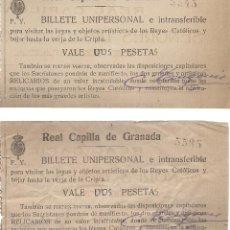Documents Anciens: DOS ENTRADAS A REAL CAPILLA DE GRANADA (AÑO 1923). Lote 54542847