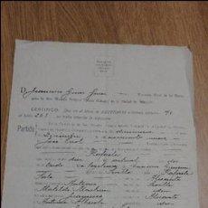 Documentos antiguos: CERTIFICACION DE BAUTISMO.RAFAELA JIMENEZ SALA.ALICANTE.1936. Lote 54547352
