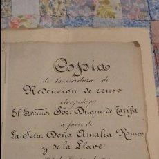 Documentos antiguos: ANTIGUA COPIA ESCRITURA CARLOS FERNANDEZ DE CORDOBA Y PEREZ DE BARRADAS.DUQUE DE TARIFA.SEVILLA.1904. Lote 54681198
