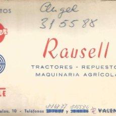 Documentos antiguos: ** TS12 - TARJETA DE VISITA - RAUSELL - TRACTORES - REPUESTOS MAQUINARIA AGRICOLA - VALENCIA. Lote 54704898
