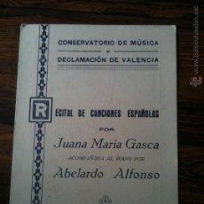 Documentos antiguos: CONSERVATORIO DE MUSICA Y DECLAMACION DE VALENCIA AÑO 1935. Lote 54708943