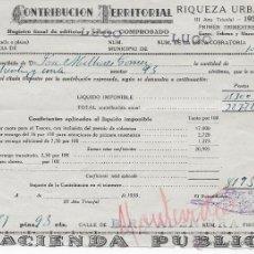 Documentos antiguos: RECIBO DE CONTRIBUCIÓN TERRITORIAL AÑO 1939 RIQUEZA URBANA DE LUGO. Lote 54711908