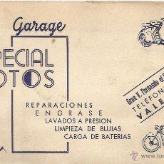 Documentos antiguos: ** TS26 - TARJETA DE VISITA - GARAGE ESPECIAL MOTOS - VALENCIA. Lote 54712284