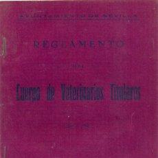 Documentos antiguos: REGLAMENTO DEL CUERPO DE VETERINARIOS TITULARES. 16 PÁGINAS. AYUNTAMIENTO DE SEVILLA, AÑO 1941. RARO. Lote 54740203