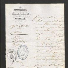 Documentos antiguos: DOCUMENTO AYUNTAMIENTO CONSTITUCIONAL DE CORNELLA - AÑO 1858 - MED 16X 21 CM- VER REVERSO- (V-4560). Lote 54742110