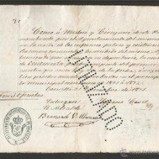 Documentos antiguos: DOCUMENTO AYUNTAMIENTO CONSTITUCIONAL DE CORNELLA - AÑO 1871 - MED 15 X 21 CM- VER REVERSO- (V-4561). Lote 54742143