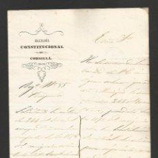 Documentos antiguos: DOCUMENTO ALCALDIA CONSTITUCIONAL DE CORNELLA - AÑO 1861 - MED 15 X 21 CM- VER REVERSO- (V-4562). Lote 54742177