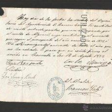Documentos antiguos: DOCUMENTO AYUNTAMIENTO POPULAR DE CORNELLA - AÑO 1873 - MED 15 X 21 CM- VER REVERSO- (V-4565). Lote 54742293