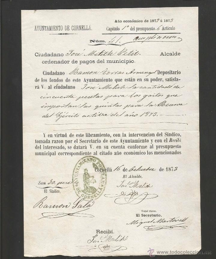 DOCUMENTO AYUNTAMIENTO POPULAR DE CORNELLA - AÑO 1873 - MED 15 X 21 CM- VER REVERSO- (V-4567) (Coleccionismo - Documentos - Otros documentos)