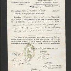 Documentos antiguos: DOCUMENTO AYUNTAMIENTO POPULAR DE CORNELLA - AÑO 1873 - MED 15 X 21 CM- VER REVERSO- (V-4567). Lote 54742367