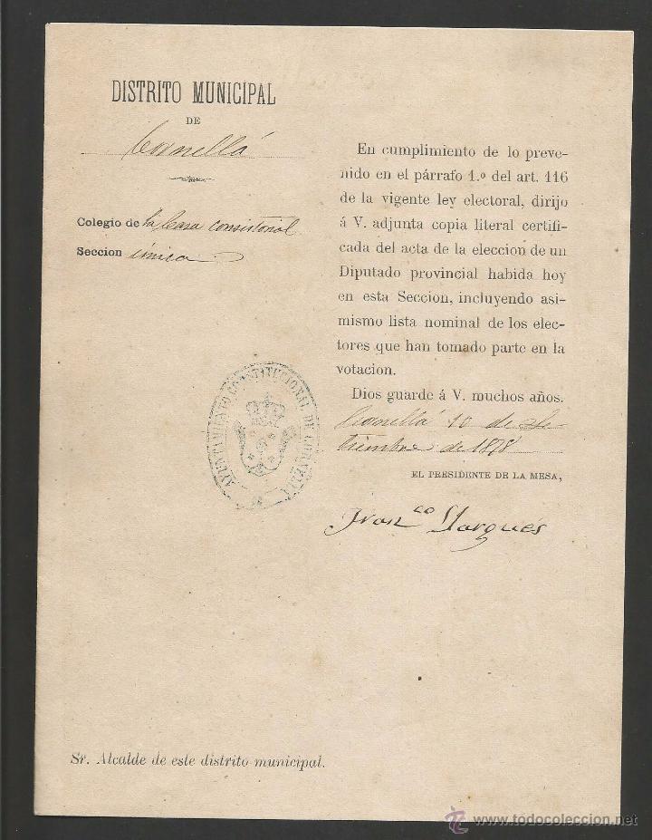 DOCUMENTO AYUNTAMIENTO CONSTITUCIONAL DE CORNELLA - AÑO 1878 - MED 15 X 21 CM- VER REVERSO- (V-4568) (Coleccionismo - Documentos - Otros documentos)