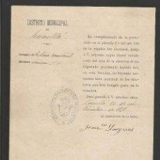 Documentos antiguos: DOCUMENTO AYUNTAMIENTO CONSTITUCIONAL DE CORNELLA - AÑO 1878 - MED 15 X 21 CM- VER REVERSO- (V-4568). Lote 54742404