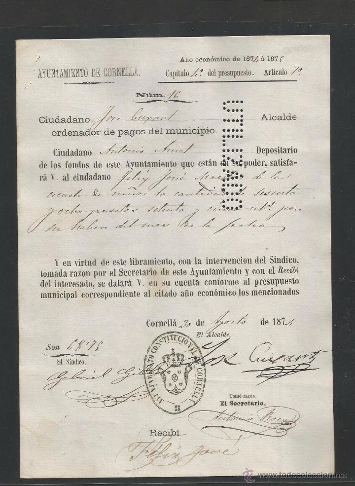 DOCUMENTO AYUNTAMIENTO CONSTITUCIONAL DE CORNELLA - AÑO 1874 - MED 15 X 21 CM- VER REVERSO- (V-4569) (Coleccionismo - Documentos - Otros documentos)
