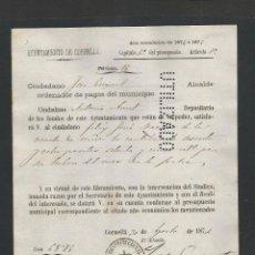 Documentos antiguos: DOCUMENTO AYUNTAMIENTO CONSTITUCIONAL DE CORNELLA - AÑO 1874 - MED 15 X 21 CM- VER REVERSO- (V-4569). Lote 54742442