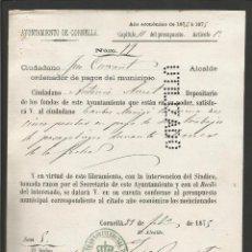 Documentos antiguos: DOCUMENTO AYUNTAMIENTO CONSTITUCIONAL DE CORNELLA - AÑO 1875 - MED 15 X 21 CM- VER REVERSO- (V-4571). Lote 54742533