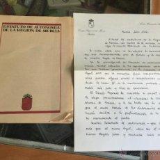 Documentos antiguos: PRIMER ESTUTO DE AUTONOMIA 1982 DE MURCIA CON CARTA A LOS MURCIANOS. Lote 54757592