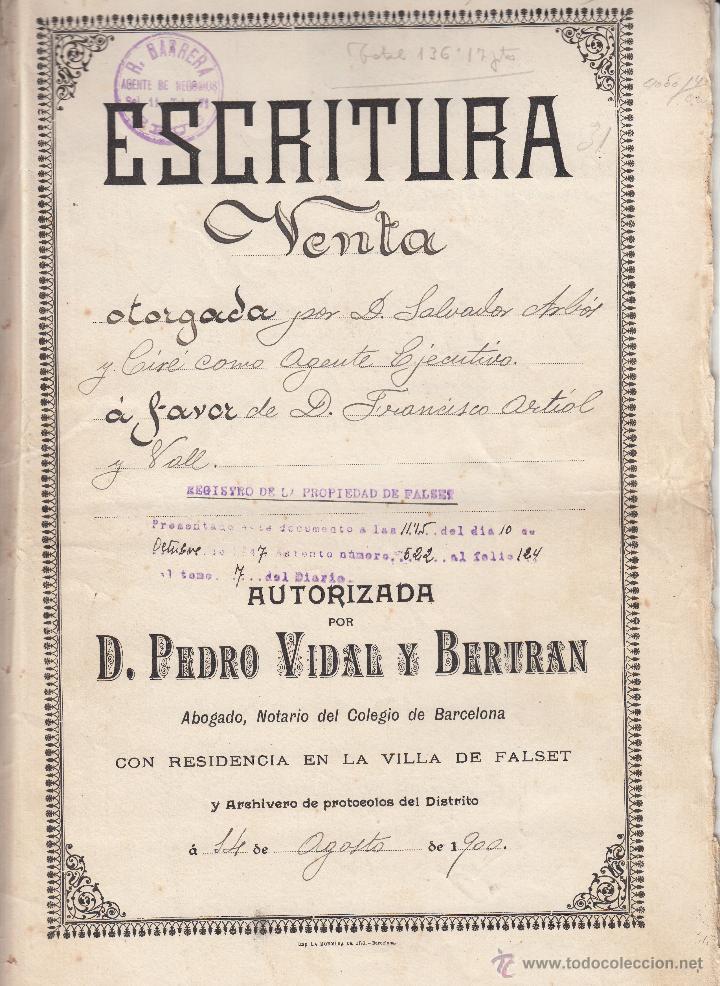Escritura de venta notario pedro vidal beltran - Vendido