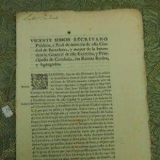 Documentos antiguos: DO-051. CONCESIÓN DE PRIVILEGIO PARA TOMAR AGUA DE LA ACEQUIA GRANDE. BARCELONA 1764.. Lote 51727306