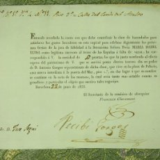 Documentos antiguos: DO-058. RECIBO CONTRIBUCIÓN GASTOS CELEBRACIÓN JURA DE FIDELIDAD A ISABEL DE ESPAÑA.1836. Lote 51975389