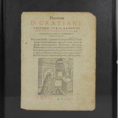 Documentos antiguos: I2-009. COMPENDIO DE LOS DECRETOS CANONICOS. PORTADA. D. GRATIANI. 1572.. Lote 45795701