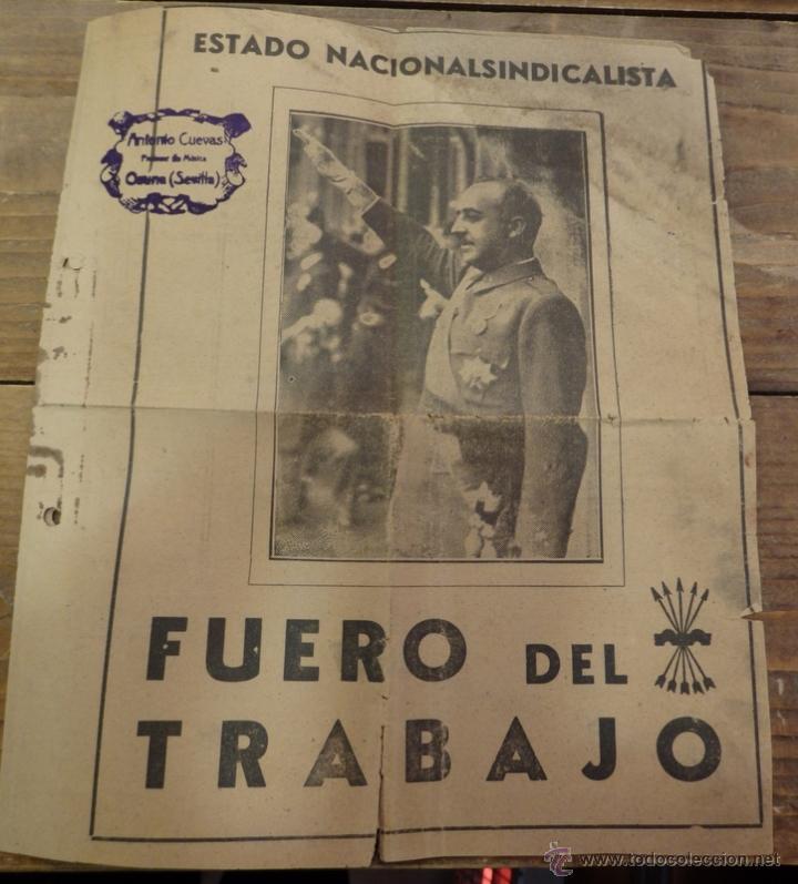 FUERO DEL TRABAJO 1938 ESTADO NACIONALSINDICALISTA (Coleccionismo - Documentos - Otros documentos)