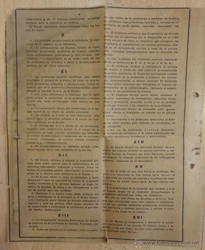 Documentos antiguos: FUERO DEL TRABAJO 1938 ESTADO NACIONALSINDICALISTA - Foto 3 - 54878467