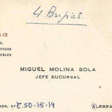 Documentos antiguos: ** TS79 - TARJETA DE VISITA - JIMESA - RADIO TV - ELECTRODOMESTICOS - ALFAFAR - VALENCIA. Lote 54889609