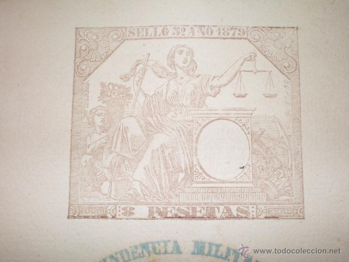 Documentos antiguos: DOCUMENTO CON SELLO TIMBRE O FISCAL, VALLADOLID, 1879 INTENDENCIA MILITAR CASTILLA LA VIEJA - Foto 2 - 45508339