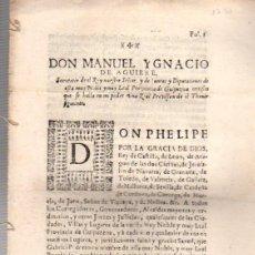 Documentos antiguos: ORDEN PARA PROHIBICION DE PETICION DE LIMOSNA. GUIPUZCOA. AÑO 1731. Lote 54932763