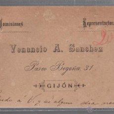 Documentos antiguos: TARJETA PUBLICITARIA. COMISIONES REPRESENTACIONES. VENANCIO A.SANCHEZ. GIJON, ASTURIAS.. Lote 54945867