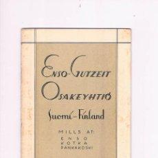 Documentos antiguos: ENSO-GUTZEIT OSAKEYHTIÓ SUOMÍ-FINLAND MILLS AT ENSO KOTKA PANKAKOSKI ABRIL 1929. Lote 54994553