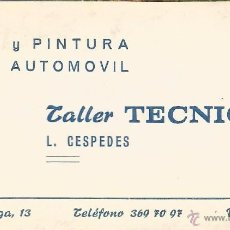 Documentos antiguos: ** TS81 - TARJETA DE VISITA TALLER TECNICAR - VALENCIA. Lote 55023286
