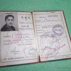 Documentos antiguos: RARO CARNET CNS BAILARINA BARCELONA 1957 FALANGE SINDICATO EXPECTACULOS TEATRO CIRCO Y VARIEDADES. Lote 55058975