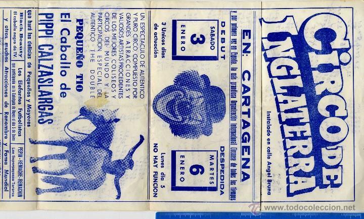 Documentos antiguos: CARTAGENA CIRCO , PRECIOSO CARTEL CIRCO DE INGLATERRA DICIEMBRE 1975 - Foto 2 - 55061776