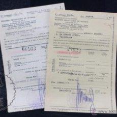 Documentos antiguos: PAREJA DE DOCUMENTOS / RECIBÍS - RÉGIMEN OBLIGATORIO DE RETIROS - BARCELONA, AÑO 1927. Lote 55095335