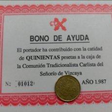 Documentos antiguos: BONO AYUDA CTC CARLISTA CARLISMO 1987 BILBAO VIZCAYA. Lote 105773740