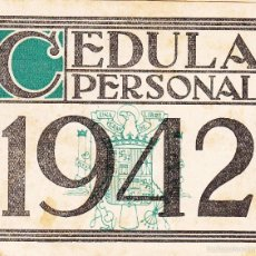 Documentos antiguos: CEDULA PERSONAL 1942 AYUNTAMIENTO DE BILBAO - DIPUTACION DE VIZCAYA. Lote 55111517