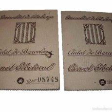 Documentos antiguos: RARISIMOS CARNET ELECTORAL...GENERALITAT DE CATALUNYA...AÑO 1.935. EL ULTIMO AÑO DE ELECCIONES.. Lote 50133952