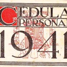 Documentos antiguos: CEDULA 1941 AYUNTAMIENTO DE BILBAO - DIPUTACION DE VIZCAYA. Lote 55111531